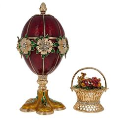 Faberge Inspired 1901 Basket of Flowers Royal Russian Egg