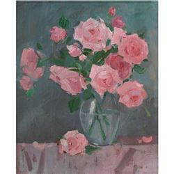 21st Century Ukranian, Signed Still Life Oil On Canvas Painting, Spring Roses