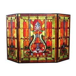 "Tiffany-glass Victorian 3pcs Folding Fireplace Screen 44"" Wide"
