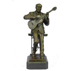 "African American Jazz Guitar Player Bronze Sculpture 11"" x 6"""