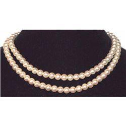"Necklace Pearl White Beige Cream Multi 2 Strand Silver Designer 8mm 17"" Japan"