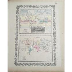 19thc Pair of Colton World Atlas Maps