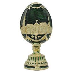 "Faberge Inspired 2.75"" St. Petersburg Green Enamel Royal Inspired Russian Easter Egg"
