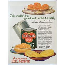 c1920's Del Monte Canned Fruit Advertisement