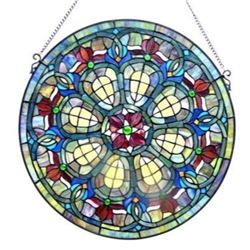 "Tiffany-glass Baroque Window Panel 24"""