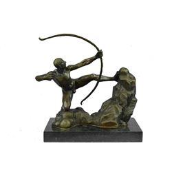 """APOLLO Nude Male Archer Bronze Sculpture 12.5"""" x 14"""""""