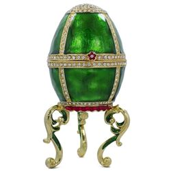 Green Enamel Jeweled Royal Inspired Russian Egg 5.5 Inches