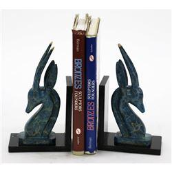 "Impala Gazelle Antelope Bronze Metal Bookend Sculpture on Marble (Pair) 10"" x 6"""