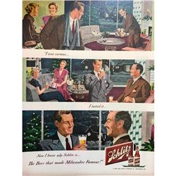 1948 Schlitz Beer Brewing Company Magazine Advertisement