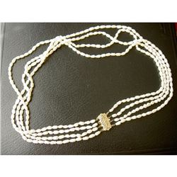 """14K YELLOW GOLD LARGE CLASP 4-STRAND FRESHWATER OVAL WHITE PEARL NECKLACE-19"""""""