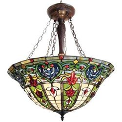 "Victorian 3 Light Inverted Ceiling Pendant Fixture 24"" Shade"