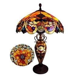 "Tiffany-style 3 Light Victorian Double Lit Table Lamp 18"" Shade"