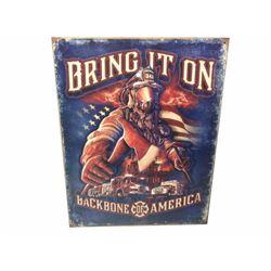 Firefighter Backbone Of America Tin Sign Vintage Garage Bar Decor Old Rustic