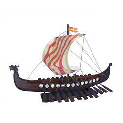 "Wooden Viking Drakkar Model Boat 24"""