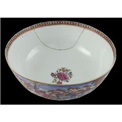 Large 18thc Qianlong Famille Rose Mandarin Bowl