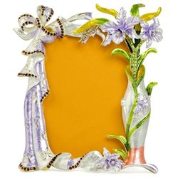 Orchid Flowers Enameled Russian Antique Style Picture Frame 7 Inches