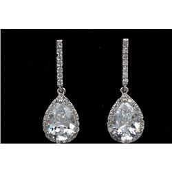 Pear Shaped Cubic Zirconia 18kt Gold Plate Earrings