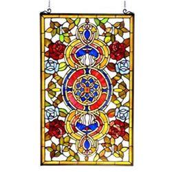 Tiffany-glass Victorian Window Panel 20x32