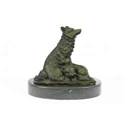 "Mother Wolf and Cubs Bronze Sculpture 4.5"" x 5"""