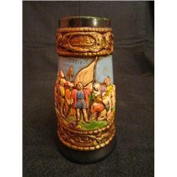 High Relief Columbus Ceramic Beer Stein