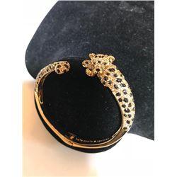 Designer Kate Spade Enamel Gold Plate Little Cheetah Cuff Bracelet