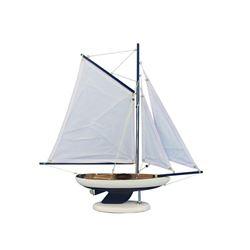 "Wooden Bermuda Sloop Dark Blue - White Sails Model Sailboat Decoration 17"""