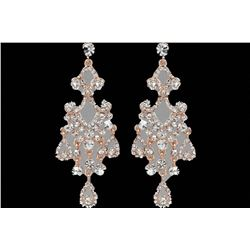 Rose Gold Plated Clear Czech Crystal Chandelier Drop Earrings