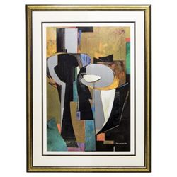 "Vander Zee Modern Framed Abstract ""Silver Columns"""