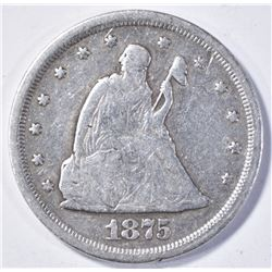 1875-S TWENTY CENT SEATED LIBERTY F+