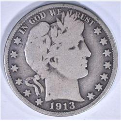 1913 BARBER HALF DOLLAR VG