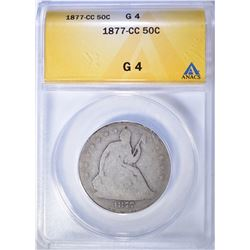 1877-CC BUST HALF DOLLAR, ANACS GOOD-4 KEY DATE
