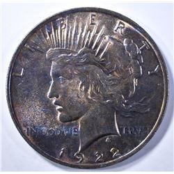1922 PEACE DOLLAR CH BU RAINBOW COLOR