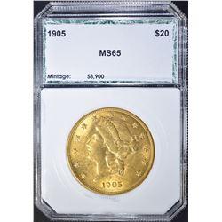 1905 $20.00 GOLD LIBERTY, PCI GEM BU