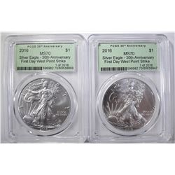 2 2016 30TH ANN. FIRST DAY ASE PCGS MS-70