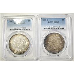 1885-O & 1886 MORGAN DOLLARS  PCGS MS-63