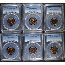 3 1968-S, & 3 71-S LINCOLN CENTS PCGS PR-68 RD