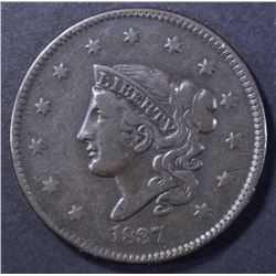 1837 LARGE CENT, VF
