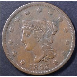 1843 LARGE CENT, VF/XF
