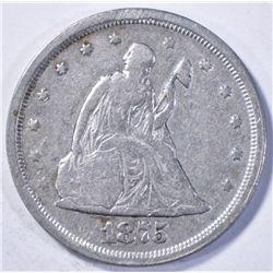 1875-S TWENTY CENT PIECE, VG