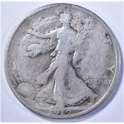 1919-D WALKING LIBERTY HALF DOLLAR, VG/F KEY DATE