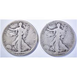 1919 & 19-S WALKING LIBERTY HALF DOLLARS, G/VG