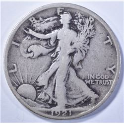 1921 WALKING LIBERTY HALF DOLLAR, VG+ KEY DATE