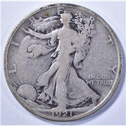 1921-D WALKING LIBERTY HALF DOLLAR, VG KEY DATE