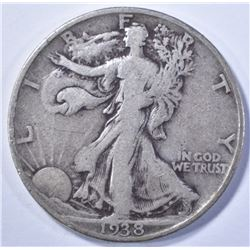 1938-D WALKING LIBERTY HALF DOLLAR, FINE+ KEY DATE
