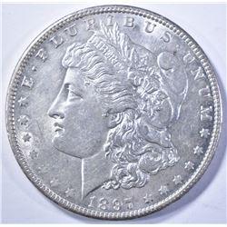 1897-O MORGAN DOLLAR, CH BU NICE