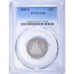 1856-S SEATED QUARTER, PCGS GOOD-04 RARE!!