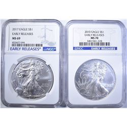 2-NGC GRADED AMERICAN SILVER EAGLES