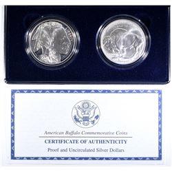 2001 AMERICAN BUFFALO PF & UNC COMMEM SILVER DOLLA