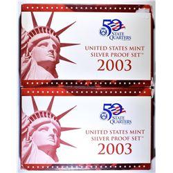 2-2003 U.S SILVER PROOF SETS
