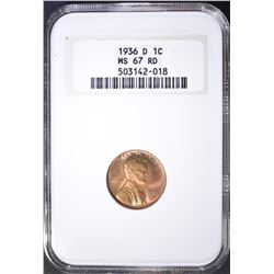 1936-D LINCOLN CENT NGC MS-67 RD